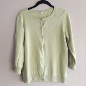 Talbots  sweater womens M cardigan Lime Green long